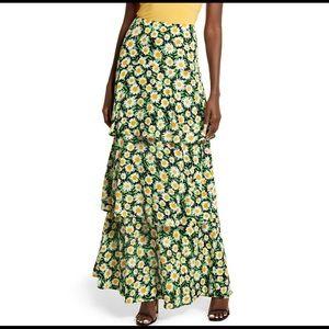 AFRM Sabine High Rise Ruffle Sunflower Maxi Skirt